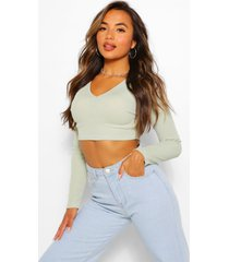 petite v-neck long sleeve crop top, olive