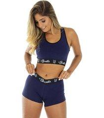 conjunto lingerie top + short algodão click mais bonita feminino