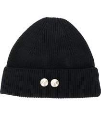 barena button beanie hat - black