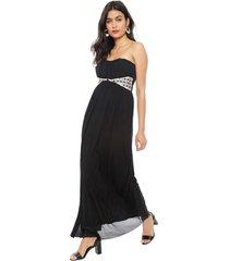 vestido nrg fiesta brillos negro - calce ajustado