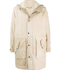 ajmone long-sleeve hooded shearling coat - neutrals