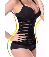 cinta modeladora slim redutora abdominal elã¡stica longa preta waist w3 - preto - feminino - nylon - dafiti