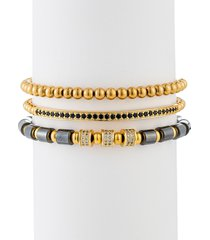 eye candy la men's ezra 3-piece goldtone lapis & cubic zirconia beaded bracelet set