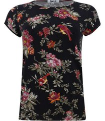 camiseta con estampado floral manga corta color negro, talla xs