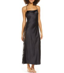 women's rya collection darling satin & lace nightgown, size medium - black
