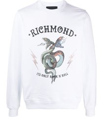 john richmond rhinestone-embellished logo sweatshirt - white