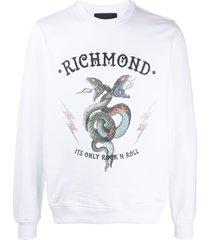 john richmond rhinestone-embellished logo sweatshirt - white