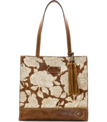 patricia nash natural embroidery toscano leather tote