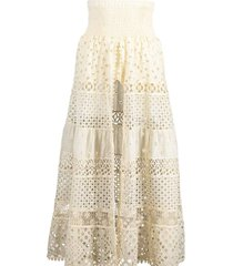 white san paolo open front skirt