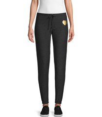 chaser women's graphic drawstring jogger pants - black - size s