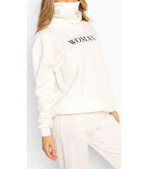 slogan hoodie with snood, white