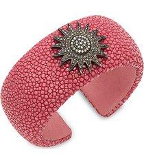 black rhodium-plated sterling silver, leather & diamond cuff bracelet