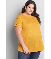 lane bryant women's button-shoulder swing tee 38/40 sunflower