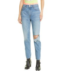 women's re/done '70s high waist distressed straight leg jeans, size 28 - blue
