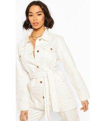 belted twill utility jacket, ecru