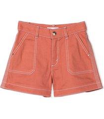 chloé orange cotton stretch shorts