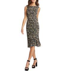 women's mac duggal metallic crosshatch midi sheath dress, size 10 - black
