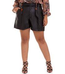 shorts couro laã§o plus size-52 - preto - feminino - dafiti
