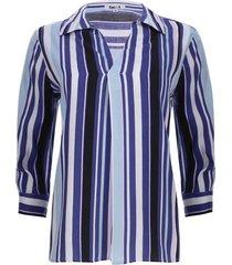 camisa a rayas tres colores color azul, talla s