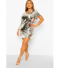 plus loshangende jurk met pailletten, silver