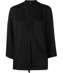 theory relaxed wrap blouse - black