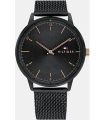 tommy hilfiger men's black ion-plated icon watch wi mesh bracelet black -