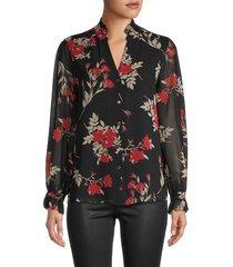 calvin klein women's floral-print sheer shirt - black multicolor - size xs
