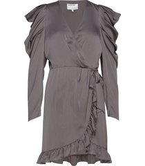 laura wrap dress kort klänning grå designers, remix