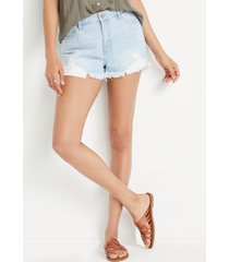 kancan™ womens classic high rise non-stretch light wash 3in shorts blue - maurices