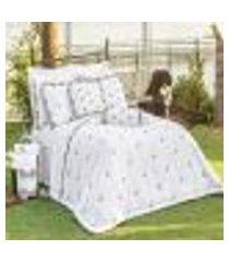 jogo de cama queen bordado 200 fios mondrean branco vilela enxovais 4 peças
