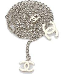 chanel cc chain belt silver, white, ivory sz: