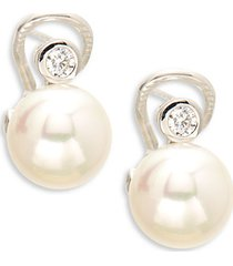 crystal, faux pearl & sterling silver orb drop earrings