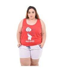 short doll serra e mar modas pijama feminino plus size vermelho