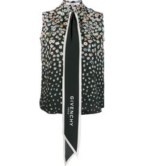 givenchy floral oversized tie shirt - black