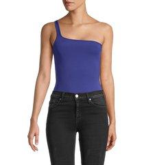 french connection women's saachi one-shoulder bodysuit - clement blue - size l