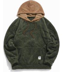 colorblock splicing faux fur fluffy hoodie