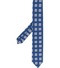 borrelli floral pattern pointed tip tie - blue