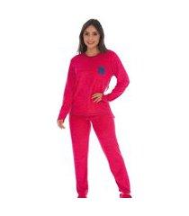 pijama fechado mullet plush feminino blusa manga longa e calça
