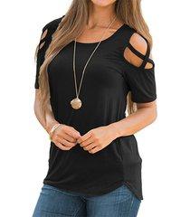 camiseta de verano mujer 2019 casual manga corta tops sueltos-negro