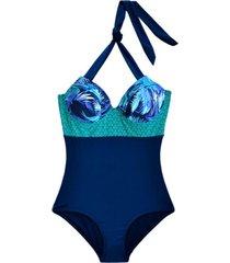 traje de baño reductor estampado azul samia