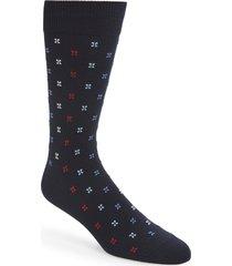men's nordstrom men's shop microprint ultrasoft socks, size one size - blue