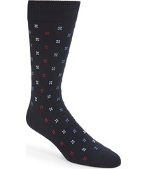 men's nordstrom men's shop microprint ultrasoft socks, size one size - blue
