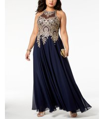 xscape plus size embroidered gown