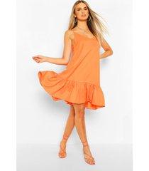 swing jurk met bandjes en losvallende zoom, orange