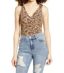 women's leith sleeveless ruched v-neck bodysuit, size large - brown