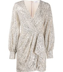 amen sequined wrap-style cocktail dress - silver