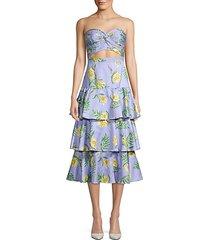 roxy linen-blend strapless tiered midi dress