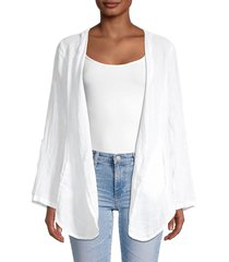 saks fifth avenue women's open-front linen blouse - white - size s