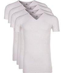 cavello 4-pack t-shirts v-hals - wit