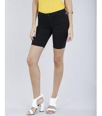 bermuda de sarja feminina ciclista estampada de poá preta